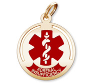 Round Medical  Adrenal Insufficiency  Pendant or Charm