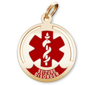 Round Medical  Seizure Disorder  Pendant or Charm