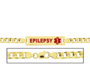Women s Curb Link  Epilepsy  Medical ID Bracelet