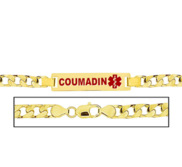 Men s Curb Link  Coumadin  Medical ID Bracelet