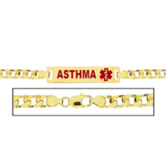 Women s Curb Link  Asthma  Medical ID Bracelet