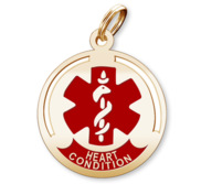 Round Medical  Heart Condition  Pendant or Charm
