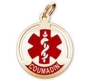 Round Medical  Coumadin  Pendant or Charm