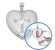 Hand Engraved Cross   Dove Cremation   Hair Photo Locket