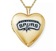 Yellow Gold Filled San Antonio Spurs Heart Locket