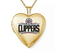 14k Yellow Gold Los Angeles Clippers Heart Locket