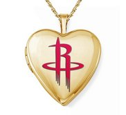 Yellow Gold Filled Houston Rockets Heart Locket