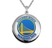 14k White Gold Round Golden State Warriors Picture Locket