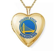 14k Yellow Gold Golden State Warriors Heart Locket