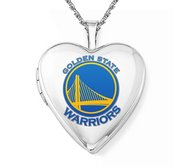 14k White Gold Golden State Warriors Heart Locket