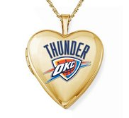 14k Yellow Gold Oklahoma City Thunder Heart Locket