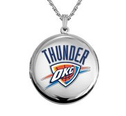 14k White Gold Round Oklahoma City Thunder Picture Locket