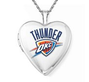 14k White Gold Oklahoma City Thunder Heart Locket