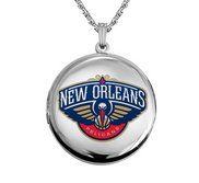 14k White Gold Round New Orleans Pelicans Picture Locket
