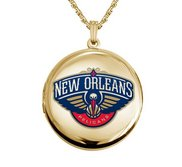14k Yellow Gold Round New Orleans Pelicans Picture Locket