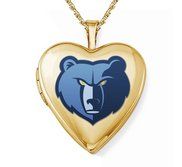 14k Yellow Gold Memphis Grizzlies Heart Locket