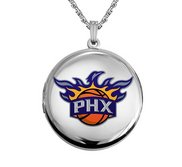14k White Gold Round Phoenix Suns Picture Locket