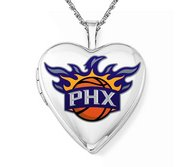 14k White Gold Phoenix Suns Heart Locket