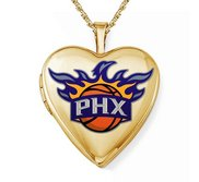 14k Yellow Gold SPhoenix Suns Heart Locket