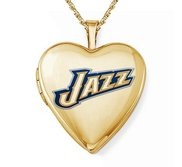 14k Yellow Gold Utah Jazz Heart Locket
