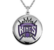 14k White Gold Round Sacramento Kings Picture Locket