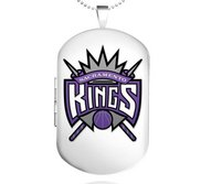 Sterling Silver Sacramento Kings Dog Tag Locket
