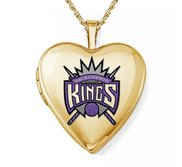 14k Yellow Gold Sacramento Kings Heart Locket