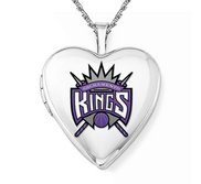 14k White Gold Sacramento Kings Heart Locket