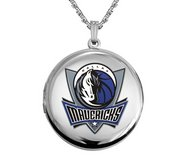 14k White Gold Round Dallas Mavericks Picture Locket
