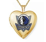 14k Yellow Gold Dallas Mavericks Heart Locket