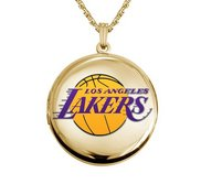 14k Yellow Gold Round Los Angeles Lakers Picture Locket