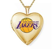 14k Yellow Gold Los Angeles Lakers Heart Locket