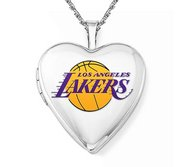 14k White Gold Los Angeles Lakers Heart Locket