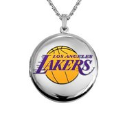 14k White Gold Round Los Angeles Lakers Picture Locket