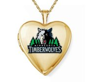 14k Yellow Gold Minnesota Timberwolves Heart Locket