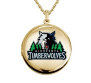 14k Yellow Gold Round Minnesota Timberwolves Picture Locket
