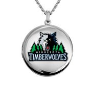 14k White Gold Round Minnesota Timberwolves Picture Locket