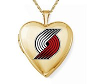 14k Yellow Gold Portland Trail Blazers Heart Locket