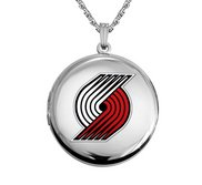 14k White Gold Round Portland Trail Blazers Picture Locket