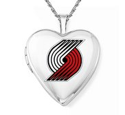 14k White Gold Portland Trail Blazers Heart Locket