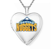 14k White Gold Denver Nuggets Heart Locket