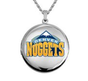 14k White Gold Round Denver Nuggets Picture Locket