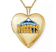 14k Yellow Gold Denver Nuggets Heart Locket