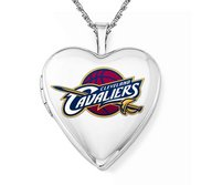 14k White Gold Cleveland Cavaliers Heart Locket