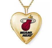 Yellow Gold Filled Miami Heat Heart Locket