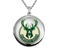 14k White Gold Round Milwaukee Bucks Picture Locket