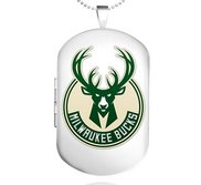 Sterling Silver Milwaukee Bucks Dog Tag Locket