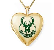 Yellow Gold Filled Milwaukee Bucks Heart Locket