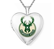 Sterling Silver Milwaukee Bucks Heart Locket