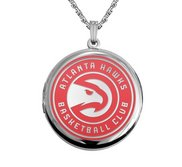 14k White Gold Round Atlanta Hawks Picture Locket